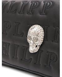 Philipp Plein Black Schultertasche mit Kristall-Totenkopf