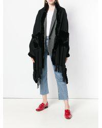 N.Peal Cashmere Black Fur-trim Shawl Scarf