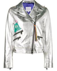 MIRA MIKATI | Whatever Painted Metallic (grey) Biker Jacket | Lyst