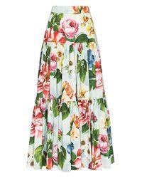 Ярусная Юбка Макси С Цветочным Принтом Dolce & Gabbana, цвет: Blue