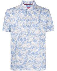 Isaia Blue Foliage Print Polo Shirt for men