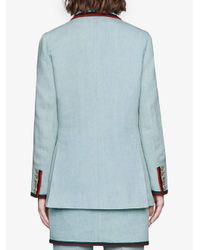 Giacca denim con applicazione di Gucci in Blue