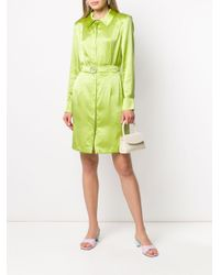 Vestido camisero con cinturón Matériel de color Green