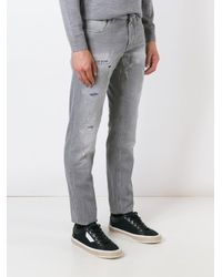Dolce & Gabbana Gray Distressed Straight Jeans for men