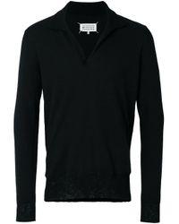 メンズ Maison Margiela ポロカラーvネックセーター Black