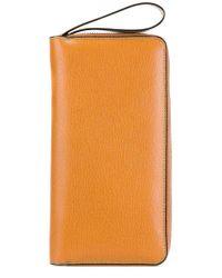 Portefeuille à fermeture zippée tout autour Valextra pour homme en coloris Orange