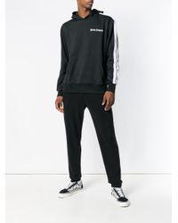 Palm Angels Black Side-striped Hoodie for men