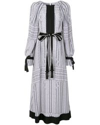 Amanda Wakeley White Silk Chevron Print Dress
