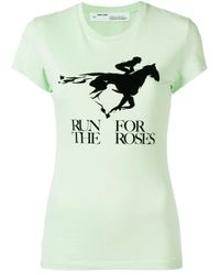 T-shirt Run For The Roses di Off-White c/o Virgil Abloh in Green
