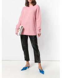 Tibi Pink Jersey Drop Shoulder Sweater