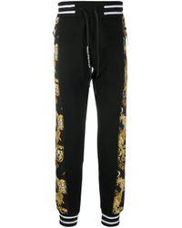 メンズ Versace Jeans バロックプリント トラックパンツ Black