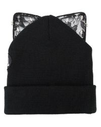 Silver Spoon Attire - Black Bad Kitty Embellished Beanie - Lyst