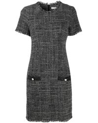 Liu Jo Gray Wildlings Tweed Dress
