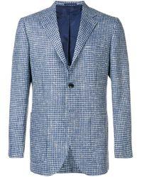 メンズ Kiton ハウンドトゥース ジャケット Blue
