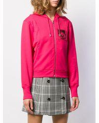 Sudadera con capucha y parche del logo Moschino de color Pink