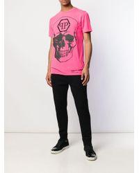 T-shirt con stampa di Philipp Plein in Pink da Uomo