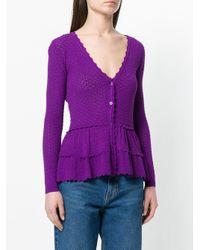 Moschino Purple Frilled Crochet Cardigan