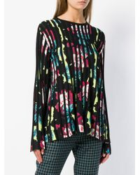 KENZO Black Pleated Floral Sweater