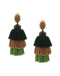 Oscar de la Renta Green Tiered Tassel Earrings