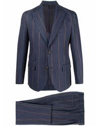 メンズ Eleventy ストライプ シングルスーツ Blue