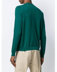 メンズ Eleventy コントラストパネル セーター Green