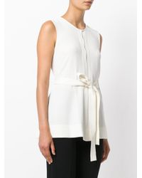 Theory - White Waist-tied Blouse - Lyst