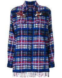 Tommy Hilfiger Blue Oversized Tartan Brushed Wool-blend Shirt