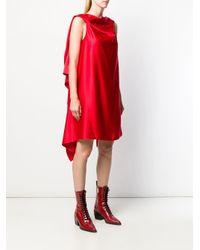 Neil Barrett アシンメトリー ドレープドレス Red