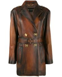 Belted Distressed-leather Coat Versace, цвет: Brown