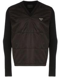 メンズ Prada ロゴプレート セーター Black
