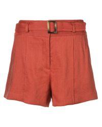 Veronica Beard Orange Belted Shorts