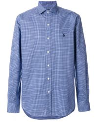 Polo Ralph Lauren - Blue Micro Check Collared Shirt for Men - Lyst