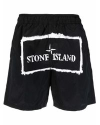 メンズ Stone Island ロゴ トランクス水着 Black
