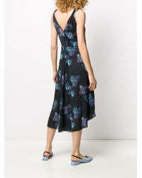 Vestido con pliegues y estampado abstracto Vince de color Blue
