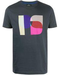 PS by Paul Smith Blue Monogram Logo Print T-shirt for men
