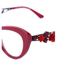 Dolce & Gabbana Red Flowers Lace Collection Glasses