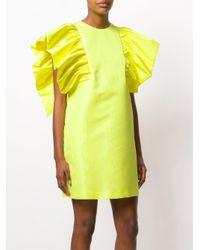 MSGM Yellow Ruffle Sleeve Dress