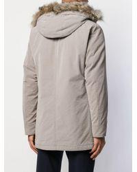 Parka à fermeture dissimulée et capuche bordée de fourrure Herno pour homme en coloris Gray