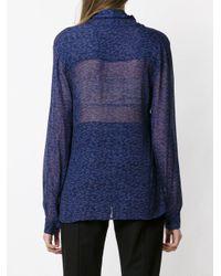 Tufi Duek Blue Printed Sheer Blouse
