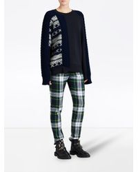 Burberry - Black Cable And Fair Isle Knit Sweatshirt - Lyst