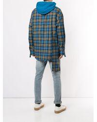 メンズ Wooyoungmi カラーブロック チェック パーカー Blue