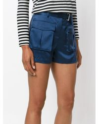 Theory Blue Pocket Mini Shorts