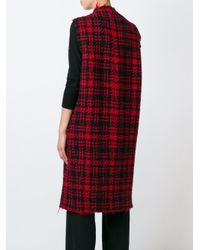 Marni Red Sleeveless Three-dimensional Checked Coat
