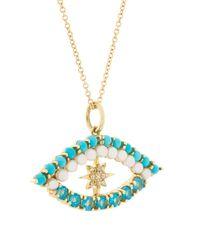 Ileana Makri Multicolor 18kt Yellow Gold Shiny Star Eye Diamond, Apatite, Turquoise And Pearl Pendant Necklace