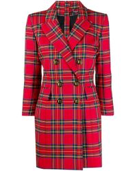 Balmain チェック ダブルブレストドレス Red