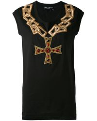 Dolce & Gabbana Black Embroidered Chain Top
