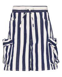 Sunnei Blue Striped Cargo Shorts for men