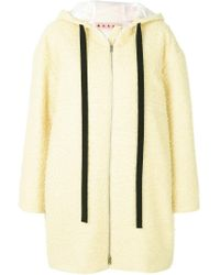 Marni Yellow Hooded Straight Fit Coat