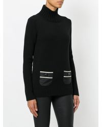 Moncler Grenoble | Black Striped Pocket Sweater | Lyst