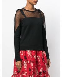 RED Valentino Black Lace Panel Sweatshirt